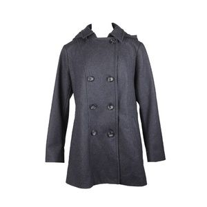 Nautica Charcoal Wool-Blend Hooded Peacoat S